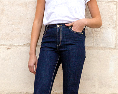 LePantalon femme jean taille mi-haute